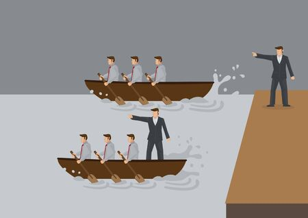 Two teams of people rowing boat in the water, one with leader standing on land and one with leader in the boat. Creative vector illustration for concept on different types of leadership style.