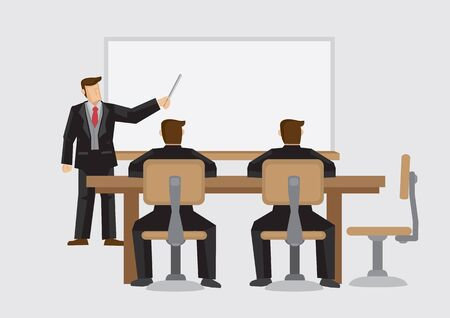 Cartoon businessman giving presentation with audience sitting at table. Vector illustration on business meeting and presentation isolated on plain background.