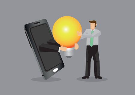 Arm in hand phone hands light bulb representing idea to cartoon professional businessman. Creative vector illustration for concept on using modern technology and business idea.