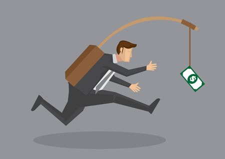 Business executive running after dangling dollar note in front of him. Creative vector cartoon illustration on self defeating method to achieve wealth concept isolated on grey background. 向量圖像