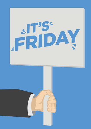 Shout out of It's Friday with a placard. Flat isolated vector illustration.