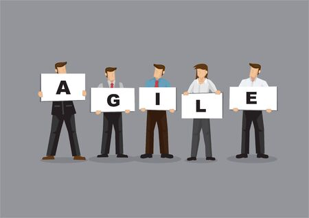 Illustration of business man and woman holding white board cards title agile. Full length on grey background. Portray a concept of agility teamwork.