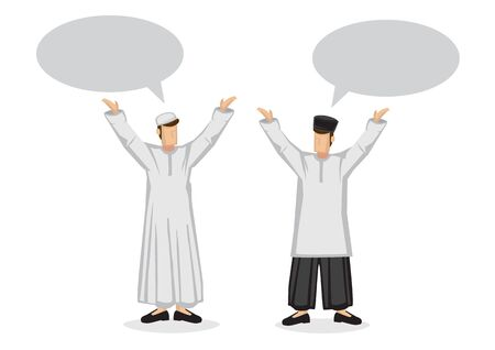 Two happy muslim friends with empty speech bubble. Flat isolated cartoon vector illustration.