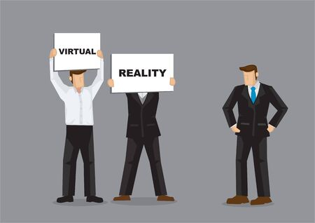 Concept illustration of a company staffs showing the boss the future direction of the company with Virtual reality on white board cards. Portray a concept of innovative future.