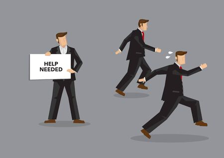 Business professionals run away from coworker with placard with text Help Needed. Cartoon vector illustration on selfishness concept isolated on grey background.