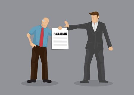 Cartoon grey hair old man character holding resume and businessman holds a stop gesture. Vector illustration on age discrimination in job market isolated on grey background.