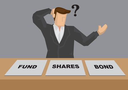 Businessman with question mark scratching his head behind adds with text - fund, shares and bond. Creative cartoon vector illustration on how to invest and asset allocation concept.