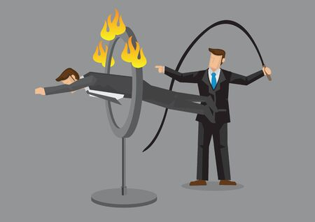 Business executive jumping through ring of fire as ordered by businessman holding whip. Cartoon vector illustration on obedience employee concept isolated on grey background.
