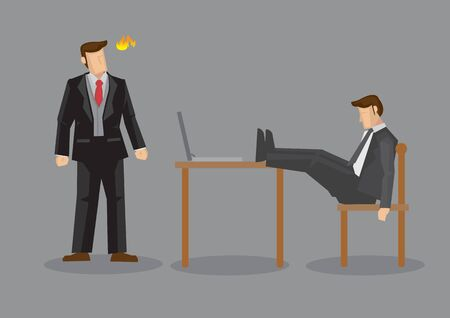 Boss or employer gets angry seeing employee napping at work with legs on table. Creative vector cartoon illustration isolated on grey background.