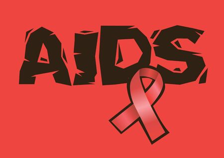 AIDS with Red ribbon. Aids awareness icon design isolated on red background. Vector illustration