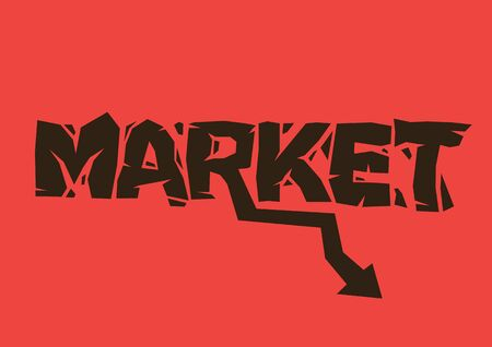 Broken design font of Market with a down arrow on a red background. Concept of stock market crash, financial crisis or recession. Vector illustration. 矢量图像