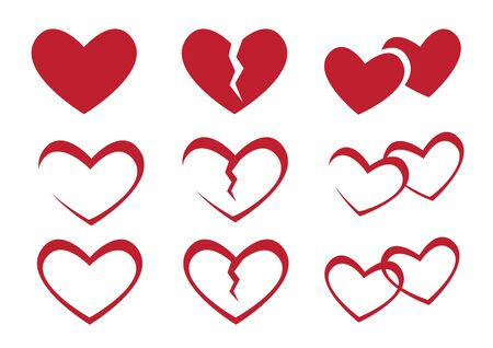 Collection of hearts and broken hearts icon. Flat isolated vector illustration.
