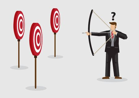 Cartoon businessman holding bow and arrow confused by multiple bullseye target. Creative vector illustration on confusion due to lack of specific goal concept isolated on plain background.
