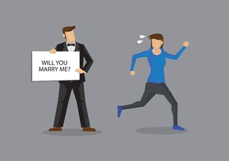 Woman runs away from man holding placard with text, will you marry me. Vector cartoon illustration on woman not wanting to get married isolated on grey background.