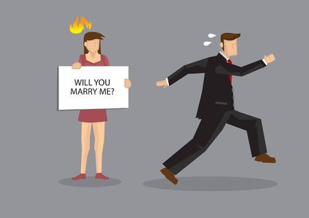 Cartoon man running away from woman holding a card sign saying, will you marry me? Cartoon vector illustration on fear of man for marriage commitment concept isolated on grey background.