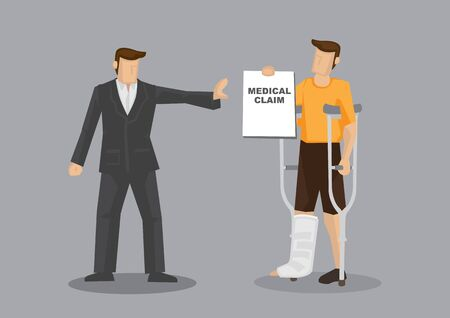 Cartoon man character with crutches and plastered leg denied medical claim by businessman. Vector illustration on medical insurance concept isolated on grey background.