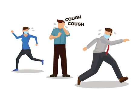 People running away when someone who is coughing. Concept of Coronavirus outbreak or pandemic. Vector illustration.