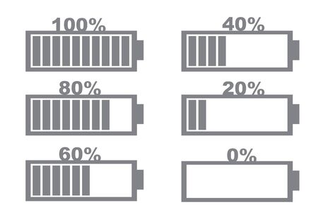 Battery charging indicator icons in percentage. Flat Isolated vector illustration.