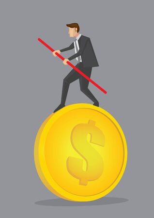Cartoon business executive balancing on the money and carefully managing risk with a pole. Creative vector illustration on financial risk management concept isolated on grey background.