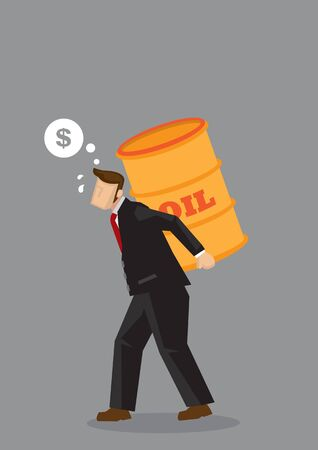 Cartoon businessman carrying heavy oil barrel and thinking of money. Creative vector illustration for concept on costs of oil on business profitability isolated on grey background.