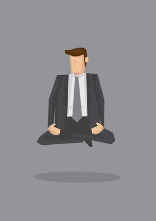 Spiritual business executive meditating in cross-legged sitting position and floating in the air. Creative vector illustration isolated on grey background. Vectores