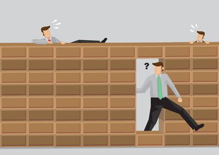 Smart man walking through hole in brick wall while others try to climb over wall. Cartoon vector illustration on concept for taking shortcuts versus doing things the hard way. Vecteurs