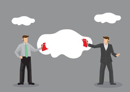 Cartoon business people using cloud technology to send and receive files. Vector business illustration on file sharing technology metaphor isolated on grey background.