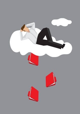 Cartoon lying on cloud in a relax manner unaware of document files coming out from cloud. Creative vector illustration on metaphor for information leakage over cloud technology.