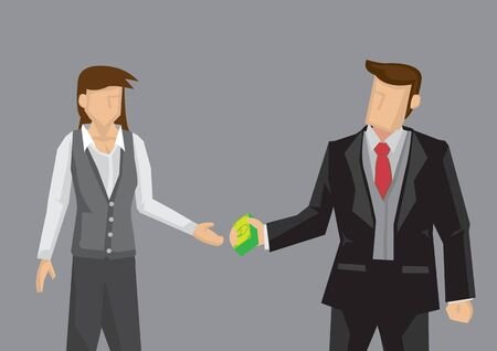 Vector illustration of cartoon man handing dollar notes and woman accepting it isolated on grey background.