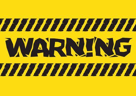 Warning danger sign. Broken yellow font text. Concept of hazard danger. Vector illustration in flat minimalism style.