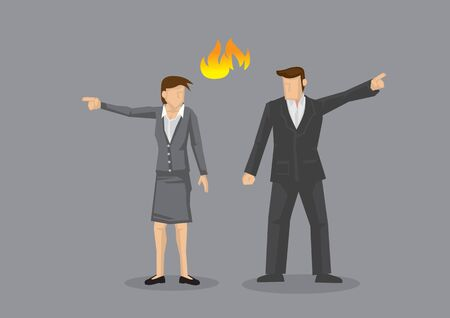 Businesswoman and businessman pointing in opposite direction with fire symbol between them. Vector illustration on disagreement concept isolated on grey background.