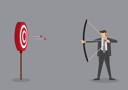 Cartoon businessman with bow and arrow hitting the center bullseye in archery target. Conceptual vector illustration isolated on grey background.