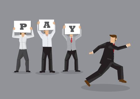 Angry workers holding placards asking for pay and employer running away. Creative cartoon vector business illustration on business strike concept isolated on grey background.