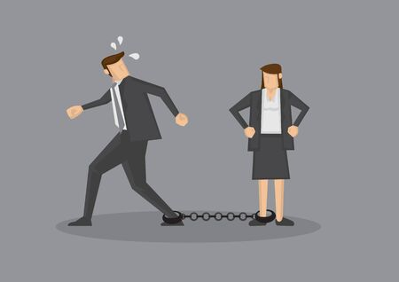 Businessman with leg chained to woman trying to escape. Humorous conceptual for business relationships isolated on grey background.