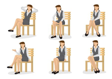 Set of full length business woman in various sitting positions isolated on white background.