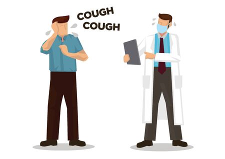 Doctor afraid a patient who is coughing. Concept of Coronavirus outbreak or pandemic