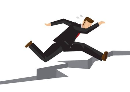 Stress businessman jumping over a crack earth. Concept of overcoming challenge, obstacles or problems. Illustration
