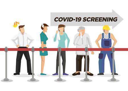People queue up and waiting to do Coronavirus health screening. Concept of Coronavirus outbreak or pandemic. Vector illustration. Vector Illustratie