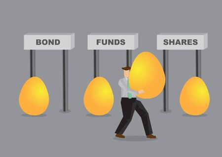 Business man deciding how to diversified his golden eggs. Business asset diversification concept. Investment wealth illustration.
