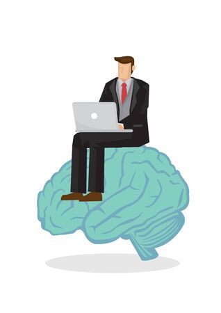 Business man in a suit working on a laptop computer on top of a brain. Concept of entrepreneur and working. Vector illustration.