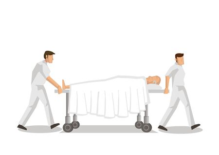 Professional staff nurses pushing gurney  stretcher with a seriously injured elderly patient in a hospital. Saving Lives or emergency concept. Vector illustration.
