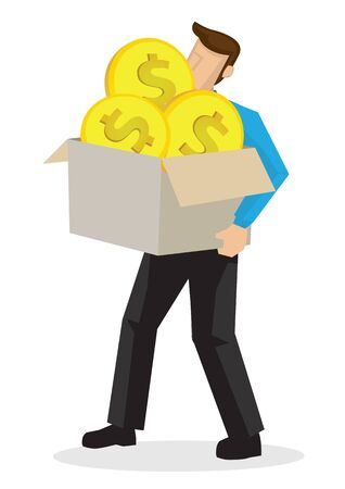 Businessman holding a box of giant coins. Concept of money achievement, corporate investment or fundraiser.