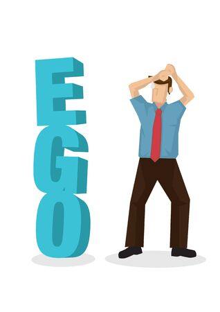 Businessman facing a 3d text of ego block when finding a way to success. Concept of career obstacle, self sabotage or self-esteem. Flat isolated vector illustration. Illustration