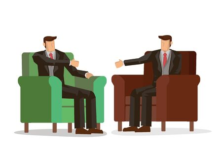 Two businessmen shaking hands while sitting on the couch at the office. Concept of cooperation. Vector illustration.