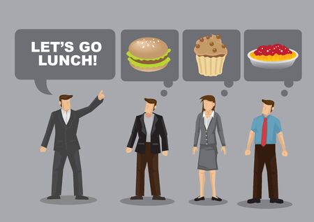 Office workers wonder what to eat during lunch break. Cartoon vector illustration on daily life of white collar professionals who are spoilt for choice for food.