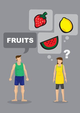 Cartoon man demand for fruits and his wife is unsure what he is asking for. Vector illustration for ambiguous instructions. Çizim