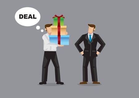 Businessman giving bribe gift to another businessman so as to win a deal. Isolated vector illustration.
