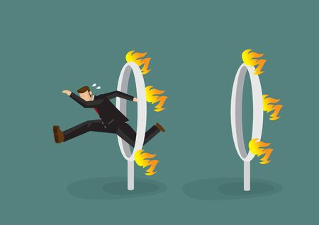 Businessman in black suit jumping over a series of fiery burning hoops. Concept of the danger or challenge he have to overcome to become successful. Vector illustration. Çizim