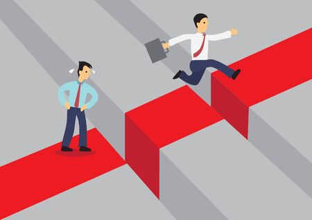 Businessman jumping over a giant gap. Another businessman are afraid of overcoming the problem. Vector cartoon illustration for concept on overcoming challenges.