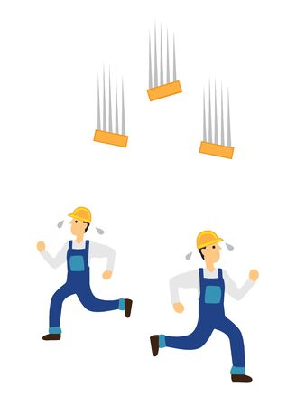 Construction workers running away from falling bricks. Concept of work safety and workplace accident. Vector illustration